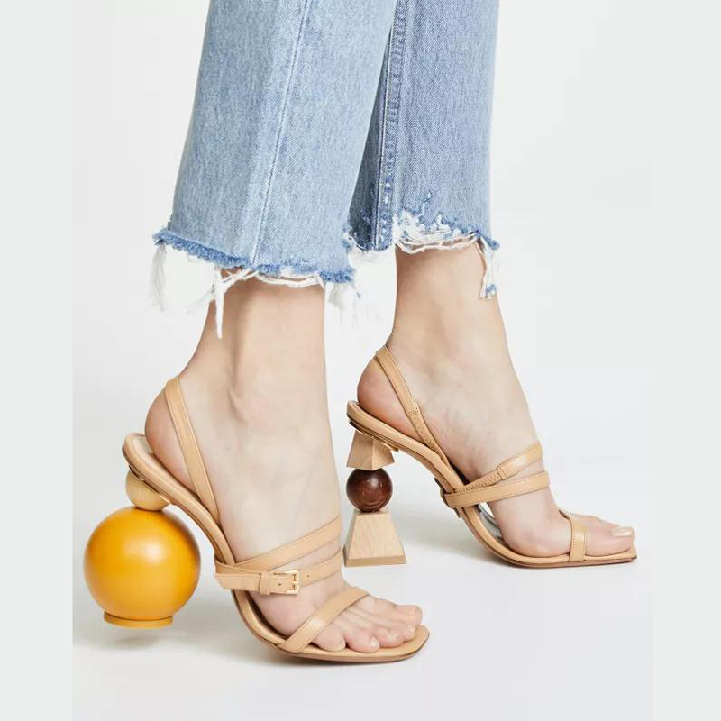 factory shoe Women's Alien wood ball building block heel shoes